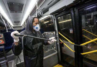 ضدعفونی اتوبوسها بعد از تخلیه مسافران